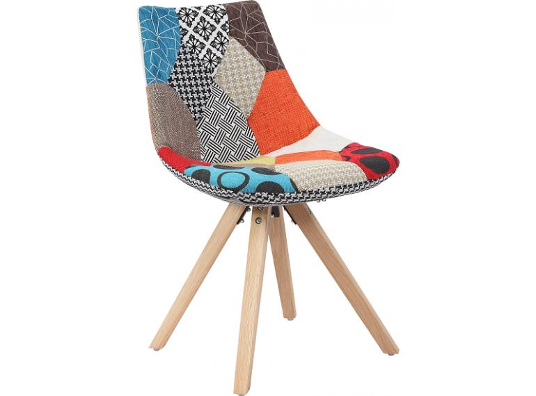 monroe lot de 2 chaises design patchwork pieds bois. Black Bedroom Furniture Sets. Home Design Ideas