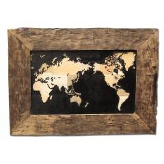 Tableau mappemonde en bois de teck - EARTH