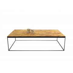 Table basse en teck motif chevron et piètement métal - NATURA