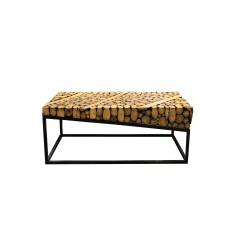 Table basse en bois teck et piètement métal - TREBA