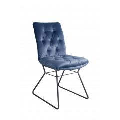 Chaise en velours bleu et piètement design métal noir - JAZZ