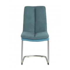 Chaise haute densité tissu et pieds chromé bleu - ELSA