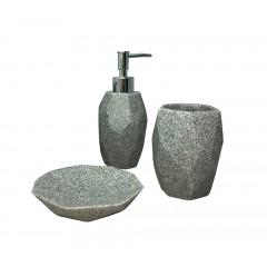Set 3 accessoires salle de bain en polyrésine et pierre naturelle gris - KESIA