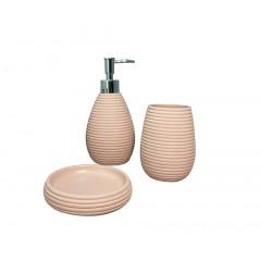 Set 3 accessoires salle de bain rose - COVENTRA