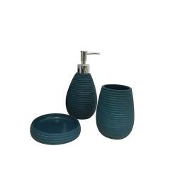 Set 3 accessoires salle de bain bleu - COVENT