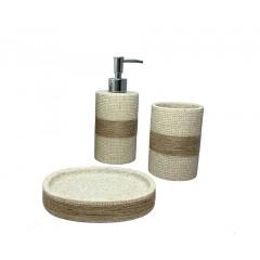 Set 3 accessoires salle de bain nature - SHEFFIELD