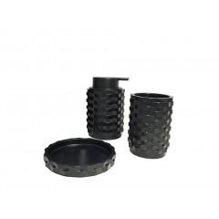 Set 3 accessoires salle de bain minérale  noir - BELFAST (vue d'ensemble)