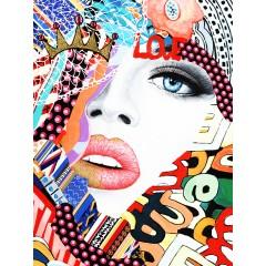 Tableau pop réalisé en peinture et collage multicolore - AXEL