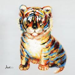 Peinture sur toile tableau bébé tigre 60 cm - POUPY