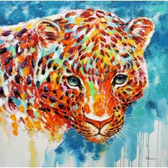 Peinture sur toile panthère colorée 100 cm - SAVANNAH
