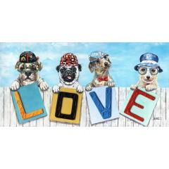 Peinture sur toile 120 cm cadre décoratif mural - LOVE