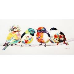 Peinture sur toile 120 cm cadre décoratif mural multicolore oiseau - PLUMY