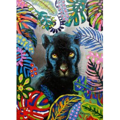 Peinture sur toile tableau panthère multicolore - RAJA
