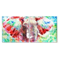 Tableau/peinture diptyque sur toile multicolore représentant un éléphant - AFRICA