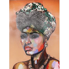 Peinture sur toile cadre femme africaine - SAVANA