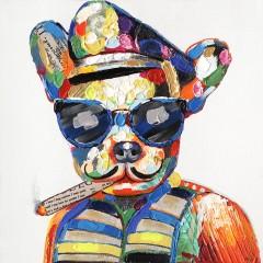 Peinture sur toile cadre décoratif mural chien multicolore - GANSTY