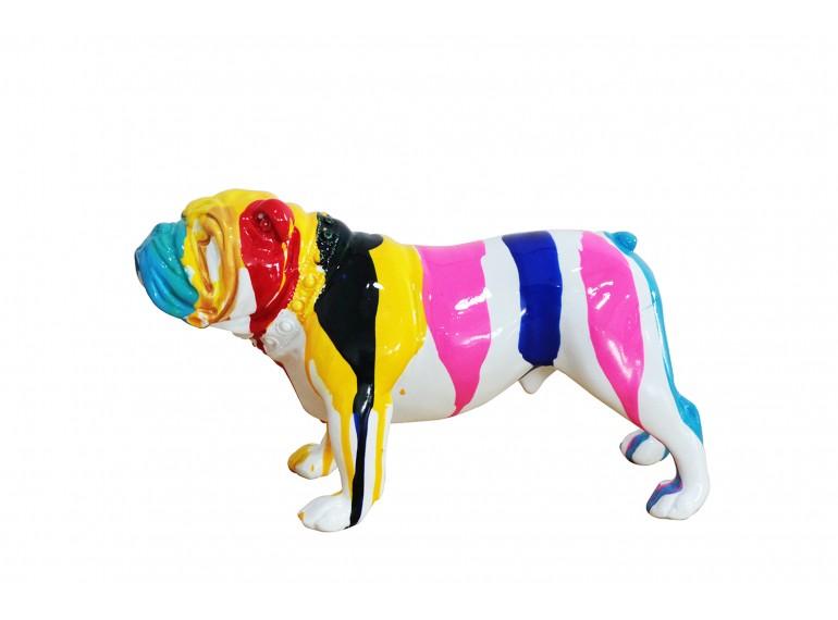 Sculpture chien bulldog multicolore en résine - CESAR