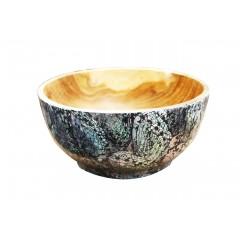 Bol en bois naturel artisanal - déco nacre - PEKO