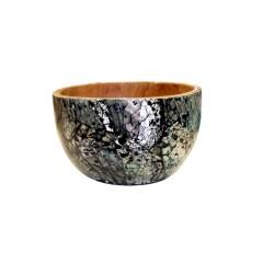 Bol 12 cm en teck et décoration en nacre fabrication artisanale et naturelle - INIA