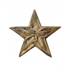 Etoile décorative 90 cm en teck fabrication artisanale et naturelle - objet de décoration murale - ESTELLE