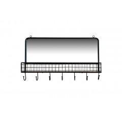 Etagère / patère avec miroir en métal & bois 7 accroches - GLASS
