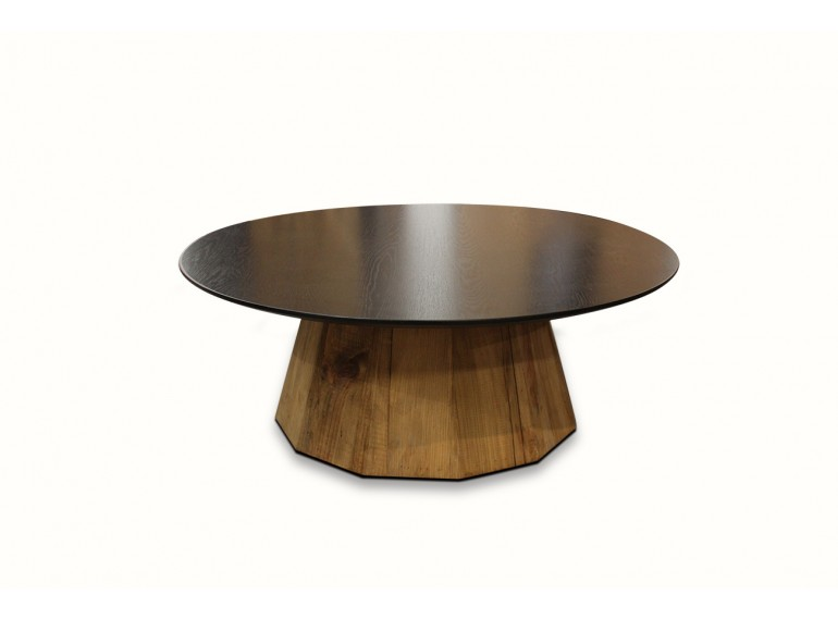 Table basse ronde noire en pin recyclé  - ORIGIN
