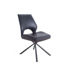 Chaise simili noir confortable - OLIANA