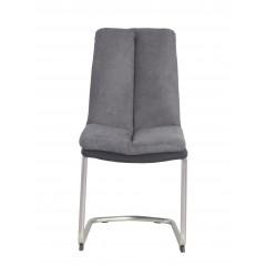 Chaise haute densité tissu et pieds chromé gris anthracite - ELSA