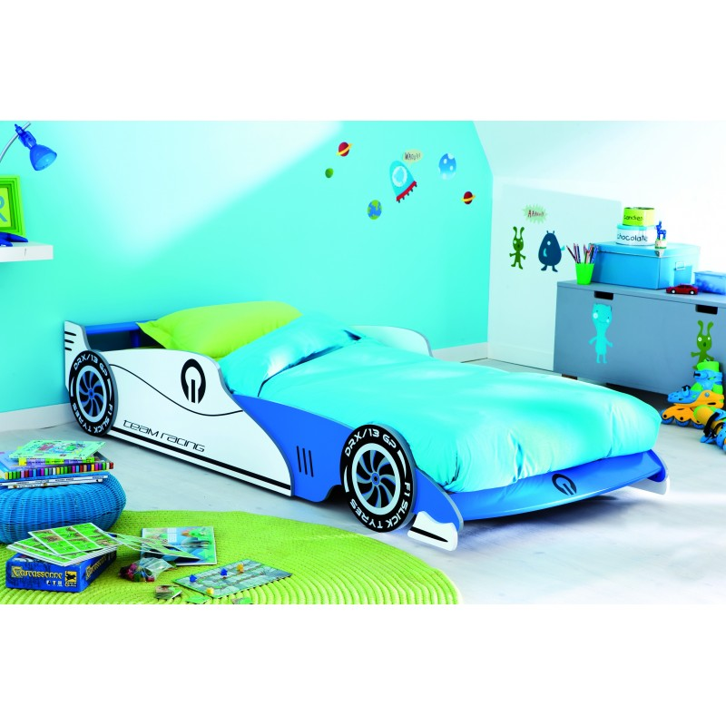 lit enfant voiture bleue 90 x 190 grand prix belhome. Black Bedroom Furniture Sets. Home Design Ideas