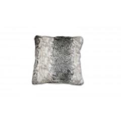 Coussin blanc/gris en fausse fourrure - TIGRIS