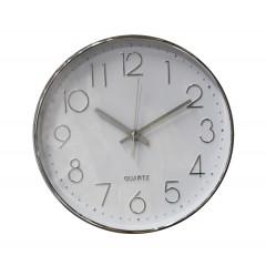 Horloge quartz ronde cadran blanc & argent - SILVER