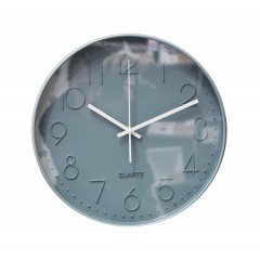Horloge quartz ronde 30 cm bleu vers de gris avec cadran à aiguilles - décoration moderne - BLUE CLOCK