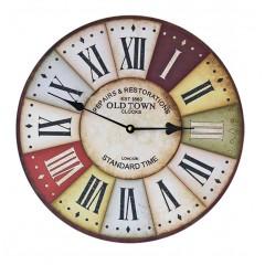 Horloge ronde 30 cm multicolore avec cadran à aiguilles et visuel effet plaque rouillée - décoration murale vintage - OLD TOWN