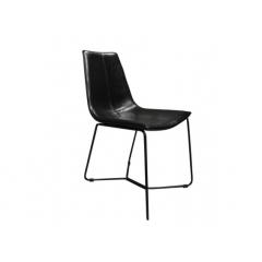 Chaise simili noir et piétement métal noir - BARI
