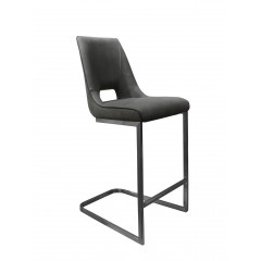 Chaise haute de bar tissu gris piétement métal - ERIKA