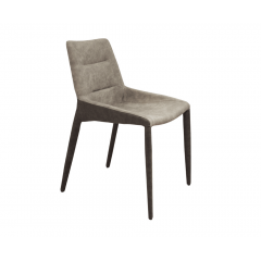 Chaise simili bicolore beige/marron & pieds métal - JULIA