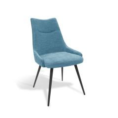 Chaise tissu bleu et pieds métal noir - TIRANA