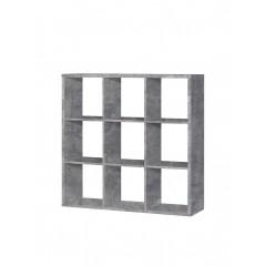 Étagère de rangement cube 9 casiers Effet Béton - MAURO