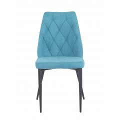 Chaise en tissu bleu capitonné & pieds métal noir1 - TOMEN