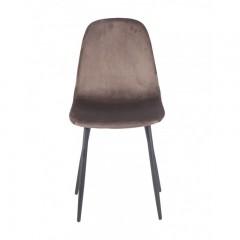 Chaise en tissu velours chocolat & métal - NINA