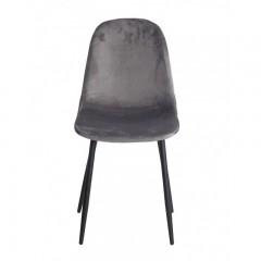Chaise en tissu velours gris anthracite & métal - NINA
