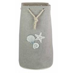 Sac à linge style bord de mer gris, coquillage & corde - SEA