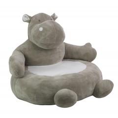 Pouf Fauteuil Enfant Design hippopotame gris Tissu Doux et Pied Bois - HIPPO