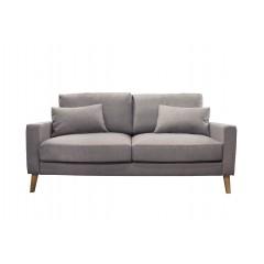 Canapé 2.5 places en tissu gris  et pieds bois massif - MALMO