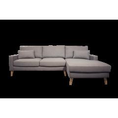Canapé d'angle droit en tissu gris et pieds bois - MALMO