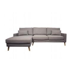 Canapé d'angle gauche en tissu gris et pieds bois - MALMO