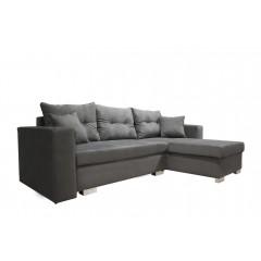 Canapé d'angle convertible en velours gris - couchage d'appoint - coffre de rangement - ALBA