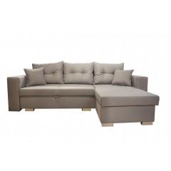 Canapé d'angle convertible en tissu gris clair - ALBA