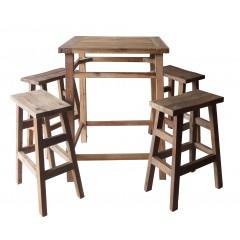 Table haute et tabourets cuisine en bois de teck - idéale ambiance chaleureuse et sobre - VICKY
