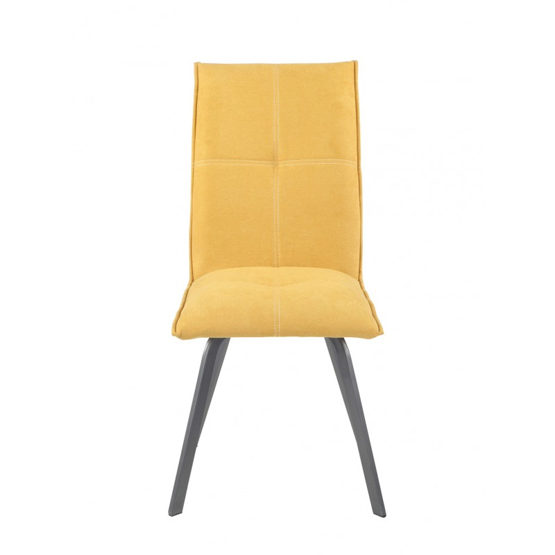 Chaise design en tissu & métal jaune - JADE